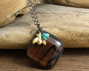 Chocolate Brown Glass Bumble Bee Pendant | Bohemia | Chain Necklace | Stained Glass | Fused Glass | Gift Under 50 | BOHO | Festival Jewelry