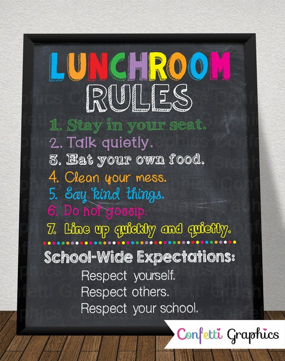 Wall Classroom Decoration Ideas For Grade ~ Lunchroom rules cafeteria custom school teacher sign poster
