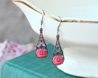 Filigree Earrings, Filigree Jewelry, Pink Rose Earrings, Rose Jewelry, Romantic Jewelry, Romantic Earrings, Vintage Style Jewelry, For Her