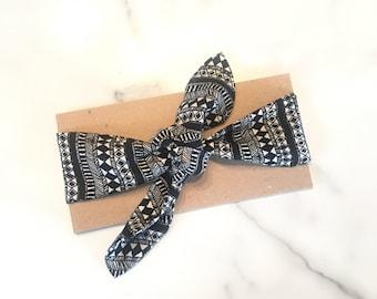 Baby knot headband. Aztec pattern