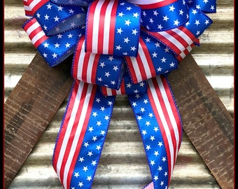 Red White and Blue Bow, Patriotic Bow, 4th of July Bow, Memorial Day Bow,  Mail Box Bow, Veterans Day Bow, Celebration Bow, Wreath Bow