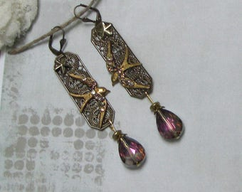 Vintage peace dove earrings