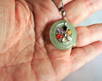 Jade Necklace / Jade Jewelry / Sterling Necklace / Sterling Jewelry / Yellow Jade / Green Jade Necklace / Jade Necklace