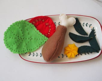 FELT FOOD.Chicken thigh,lettuce,tomato slice,vegetables(basil),cream wisp.Embroidered.Toy,Christmas gift.Ornament .Educational gift.h-made
