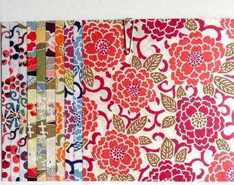 Japanese WASHI paper Origami YUZEN Chiyogami, 10 sheets, 12x12cm (Y003)