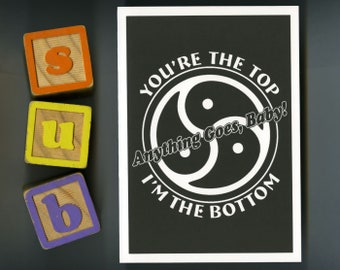 Top/Bottom BDSM Triskelion, You're The Top, Anything Goes - Greeting Card