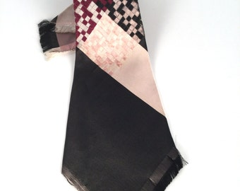 Vintage 20s Burgundy & Brown Silk Tie, 1920s Wide Diagonal Stripe Necktie, Art Deco Tie, Mens 1920s Clothing, Cravate Vendome, Other Colors