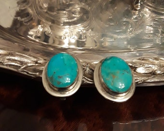 Sterling silver native American turquoise clip on earrings