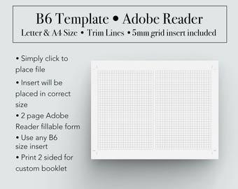 B6 Template, Booklet Template, B6 Printable Insert, B6 Booklet Template, Travelers Notebook, Bullet Journal, Planner Printable, B6 Printable