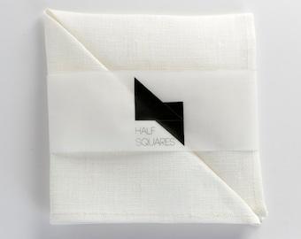 White pocket square - off white pocket square - snow white pocket square - wedding gift for him - linen accessory - grooms handkerchief
