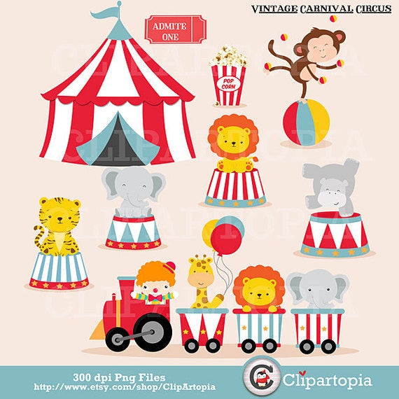 Vintage Carnival Circus Digital Clipart Animal Clip Art Train For Personal And Commercial Use Instant Download From ClipArtopia On