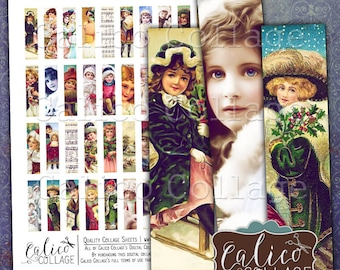Victorian Holiday, Collage Sheet, Printable Download, Christmas, MatchStick Size, Hald Domino, Vintage Ephemera, 12x50mm, Digital Images