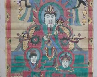 Old Ceremonial Taoist YAO Painting on Fabric, Yao People Art, FREE SHIPPING