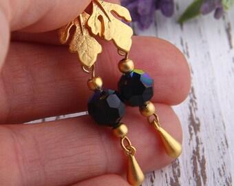 Black, Bead Dangles, Swarovski Bead Dangles,Earring Bead Dangles, 2 pieces //BD-038
