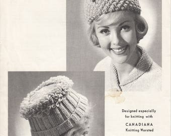 One dollar SALE Vintage knitting pattern - Knitted hats by Beehive Pattern One Size