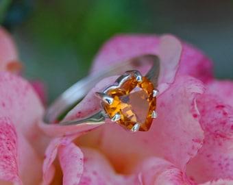 Jaffa - Alternative Engagement Ring, promise ring, Citrine heart ring, gemstone ring,  heart ring, November birthday, anniversary, gift
