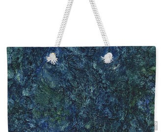 Mother's Day Gift Weekender Tote  Sea Blue Sea Green Abstract in Watercolor
