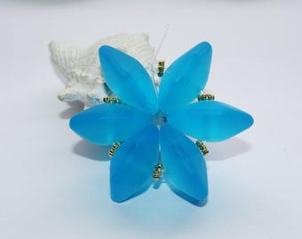 Glass beads, water blue, glass, satin, glass, aqua beads, hexagonal,