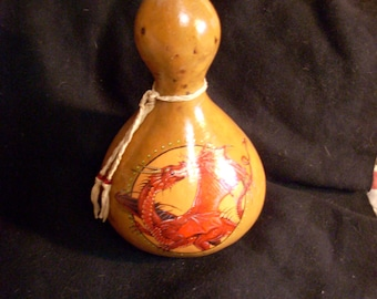 Hand Painted Gourd- Large Red Dragon