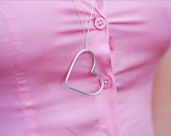 Long Silver Heart Necklace, Sterling Silver