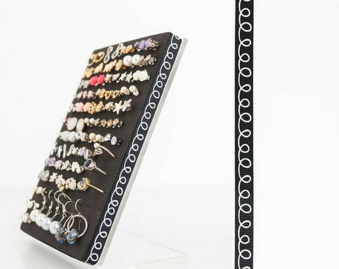 Earring Stand - Black & White Rope Design - Earring Organizer