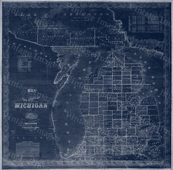 Michigan map, vintage 1856 old map of Michigan, Old Antique Restoration Decor Blueprint Style wall Map, Lake Michigan map. Fine Art Map