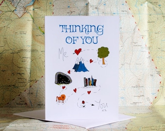 Thinking of you card, me to you card, missing you card, adventure card, wish you were here card, travel to you card
