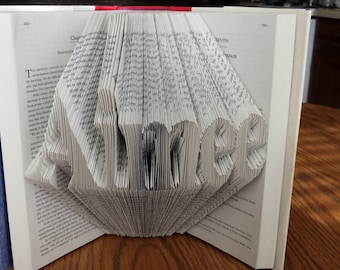 Custom Name or Word Folded Book Art - Any Name or Word from 3 to 7 Letters - Basic Font