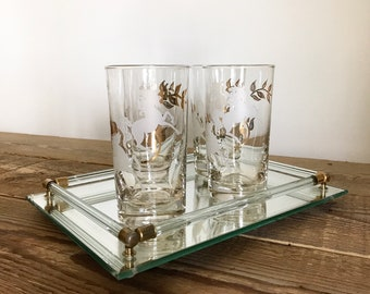 Vintage Lucite and Brass Mirror Tray