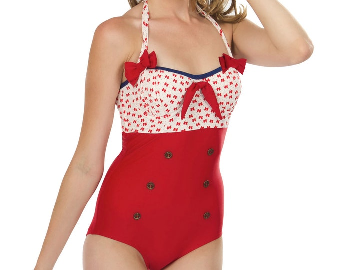 Sammie Halter Swimsuit in Red Bows