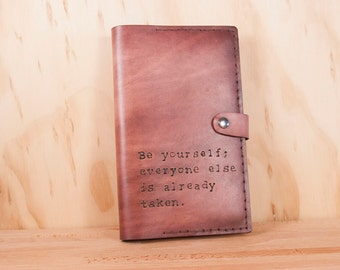 Custom Leather Notebook - Moleskine Journal Cover - Typeset Pattern in Antique Mahogany  - Personalized Inscription - Third Anniversary Gift