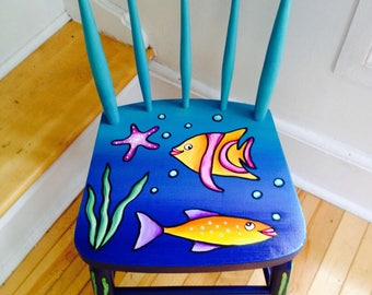 Child's sized hand-painted FISHY WISHY chair!