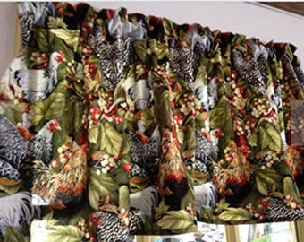 """Chicken Hen Rooster Window Curtain Valance 43""""W x 15""""L Farmhouse Style Kitchen Green Cotton Curtain Valance, Option for Curtain Panels"""