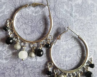 Super sassy shades of black hoop dangle earrings