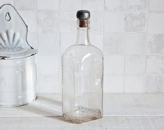 Vintage French Clear Glass Bottle with Cap 0.75L || Antique Glass Bottle