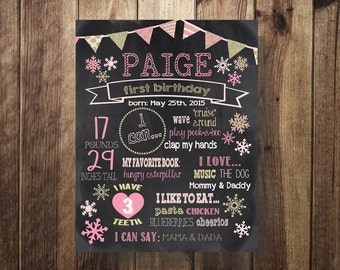 Winter ONEderland Birthday Poster, Winter Party Sign, Snowflake, Birthday Chalkboard Printable, First Birthday, Girl, Pink, Gold