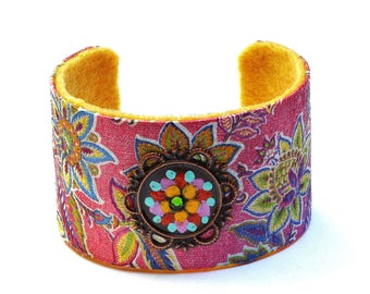 Pink Paisley Flower Cuff Bracelet Hand Painted Colorful Boho Jewelry FREE SHIPPING