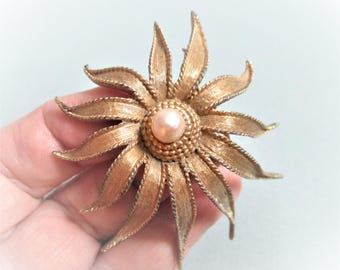 Boucher Floral Brooch Vintage Designer Jewelry Gift for Women Marcel  Boucher NY Signed Lapel Pin # 7441 Faux Pearl Goldtone