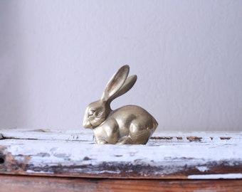 Vintage Brass Bunny Rabbit // Solid Brass