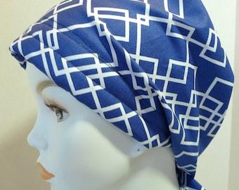 Womens Blue Geometric Hair Loss Cancer Hat Chemo Scarf Cap Head Wrap Alopecia Turban Headcovering Bad Hair Day