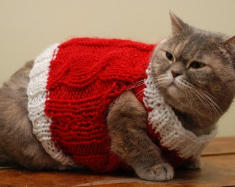 Christmas Cat Vest, Red cat clothes, Warm cat sweater, Knit vest for cat, Clothes for pet, Holiday clothes for cats