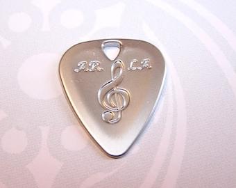 1 guitar pick pendant metal / Metal guitar picks 3 colours silver / bronze / copper