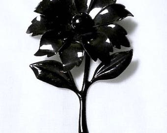 Gorgeous Vintage Large Glossy Black Enamel Daisy Flower Brooch Pin