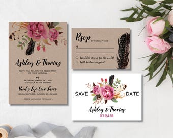 Printable Wedding Invitation Suite |  invitation + Save-the-Date + RSVP  Bohemian invites  | Kraft paper, watercolour flowers|  Rustic Boho