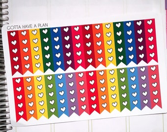 Planner Stickers Heart Checklist for Erin Condren, Happy Planner, Filofax, Scrapbooking