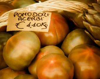 Food Photograhy Tomato Photograph Italian Food Photo Kitchen Art Red Green Basket Cooking Market ita99