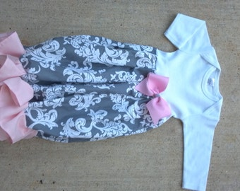 Personalized Coming Home Outfit Damask Layette Gown for Taking Baby Girl Home Pink and Gray