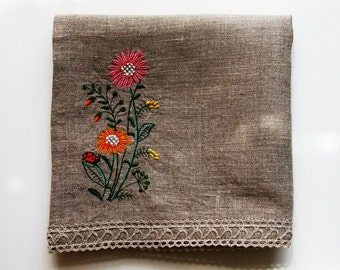 Natural Linen Hand Towel, Embroidered with Lace, Handmade Tea Towel, Grey, 100% Pure Linen, Guest Towel, Eco-friendly Gift