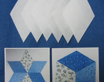 """EPP, Diamonds, 300 Iron on Papers, DIY, English Paper Piecing, Basting papers, templates,  2 1/4"""" sides when finished, tumbling blocks"""