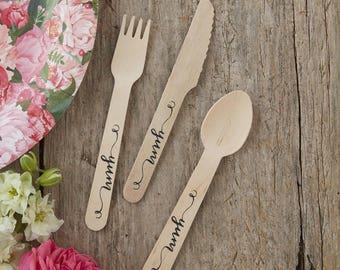 Wooden Rustic Cutlery with YUM Script 18 Piece Set, Birthday Party Cutlery, Wedding Cutlery, Hen Party Cutlery, BBQ, Garden Party Cutlery